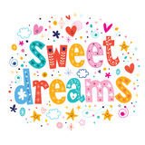 Sweet dreams. Decorative type lettering design Stock Images