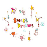 Sweet dreams. Hand lettering design with cute little characters Royalty Free Stock Photo