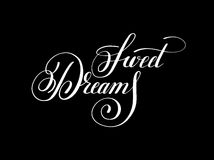 Sweet dreams handwritten lettering inscription positive inspirational phrase vector illustration