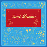 Sweet dreams inscription with floral background Royalty Free Stock Photography