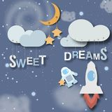 Sweet dreams little babies poster. On this picture you can see very cute sweet dreams concept artwork. You can use this picture for all your needs Stock Photos