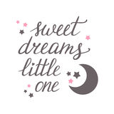 Sweet dreams little one. Hand lettering with moon and stars Stock Photos