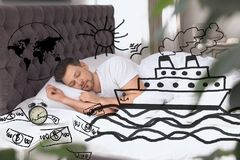 Sweet Dreams. Man Sleeping. Ship, Money And Other Illustrations On Foreground Royalty Free Stock Photography