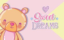 Sweet dreams message. With cute bear cartoon vector illustration graphic design Royalty Free Stock Photography