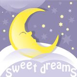 Sweet dreams. Moon, clouds and stars. Sweet dreams wallpaper. Vector illustration Stock Images