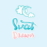 Sweet dreams moon lettering hand drawn Royalty Free Stock Image
