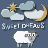 Sweet dreams sheep newborn babies poster concept stock illustration