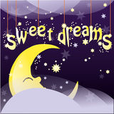 Sweet dreams. Night background with moon, stars and clouds hanging. Vector illustration Royalty Free Stock Photos