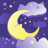 Sweet dreams. Night background with moon, stars and clouds. Vector illustration Stock Images