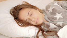 Sweet dreams rest relaxation recreation peaceful. Sweet dreams. Rest relaxation recreation. Peaceful girl sleeping soundly stock video