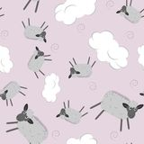Sweet dreams seamless pattern with cute sheeps stock illustration