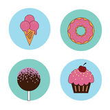 Sweet dreams. Taste it! Cakes, donut, ice cream, lollipop illustration Stock Photography