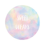 Sweet dreams text on pastel watercolor background Stock Photography