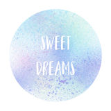 Sweet dreams text on pastel watercolor background Stock Images