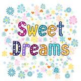 Sweet dreams.  Vector. Sweet dreams greeting card illustration. Vector typography Royalty Free Stock Image