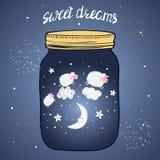 Sweet dreams vector illustration. Moon and sheep. Stock Image