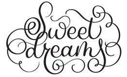 Sweet dreams vector vintage text. Calligraphy lettering illustration EPS10 on white background Stock Image