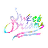 Sweet dreams watercolor lettering Stock Image