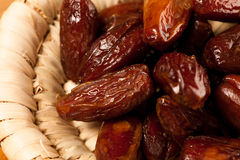 Sweet dried dates fruit in small bowl, mediterranean desert on w Royalty Free Stock Photos