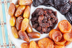 Sweet Dried Fruits On A Plate Royalty Free Stock Photos