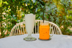 Sweet drink, coconut  smoothies and Thai ice milk tea to quench Stock Photos