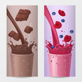 Sweet Drink Vertical Banners with Falling Chocolate and Fruits. Vector illustration Royalty Free Stock Photography