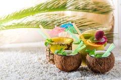 Sweet drinks in fresh fruits on sandy beach Stock Photos