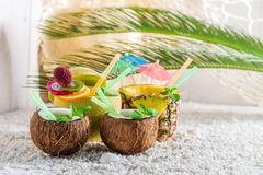 Sweet drinks in fresh fruits. On white pebbles Royalty Free Stock Image