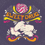 Sweet drug. Vector illustration of woman mouth biting lollipop and hands Stock Images