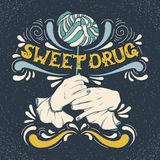Sweet drug. Vector illustration of woman mouth biting lollipop and hands Stock Photography