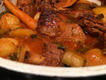 sweet duck cooked with potatoes Stock Photos