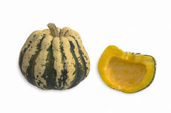 Sweet Dumpling Squash. One Whole Small Sweet Dumpling Squash and One Halved Showing the Inside Royalty Free Stock Images