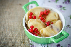Sweet dumplings with cheese and berries Stock Photography