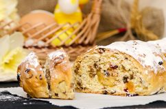 Sweet Easter bread with marzipan, candied fruits, nuts Royalty Free Stock Images