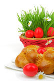 Sweet Easter bread with red eggs Stock Photo