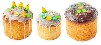 Sweet easter cakes with chicken Royalty Free Stock Images