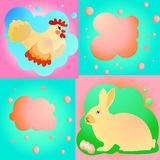 Sweet easter set with chicken and rabbit Stock Images
