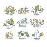Sweet, eco home logo set, wood house badges vector Illustrations on a white background. Sweet, eco home logo set, wood house badges vector Illustrations isolated vector illustration