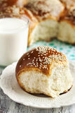 Sweet Egg Buns and glass of milk Stock Photography