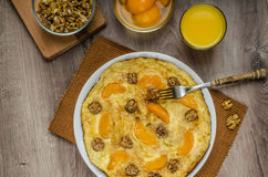 Sweet Egg omelet with walnuts and peaches Stock Images