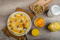 Sweet Egg omelet with walnuts and peaches Royalty Free Stock Photography