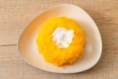 Sweet Egg-Serpentine Cake or Gold Egg Yolk Thread Cakes. Thai dessert royalty free stock photography