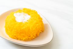 Sweet Egg-Serpentine Cake or Gold Egg Yolk Thread Cakes. Thai dessert stock image