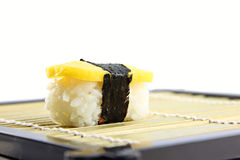 The Sweet egg Sushi on the dish. Stock Photography