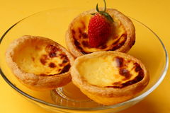 Sweet Egg Tarts And Strawberry Stock Images