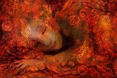 Sweet elven dreams, little sleeping fairy, handpainted and computer collage. Sweet elven dreams - little sleeping fairy, hand painted and computer collage Stock Photography