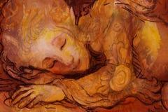 Sweet elven dreams, little sleeping fairy, handpainted and computer collage. Sweet elven dreams - little sleeping fairy, hand pinted and computer collage Stock Photography