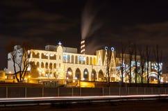 Sweet factory illuminated. At Christmas Royalty Free Stock Photography