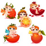 Sweet fairies with apple, orange, tomato and Royalty Free Stock Photography