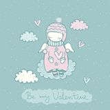 Sweet Fairy Card. Valentines day fairy card with cute angel in sky in vector. Holiday illustration stock illustration